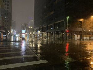 Cool, snowy night at 16th Street